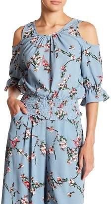 Hazel Floral Print Cold Shoulder Blouse