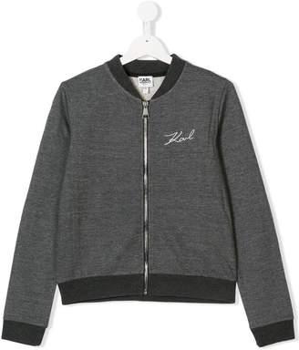 Karl Lagerfeld TEEN embroidered logo bomber jacket