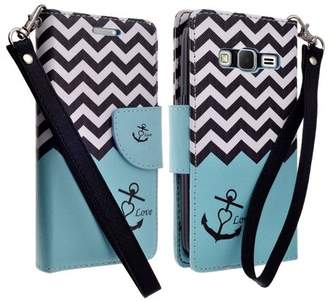 CoverLab Galaxy Go Prime Case / Grand Prime Wallet Case, Wrist Strap Flip [Kickstand] Pu Leather Wallet Case with ID & Credit Card Slots for Galaxy Go Prime/Grand Prime - Teal Anchor