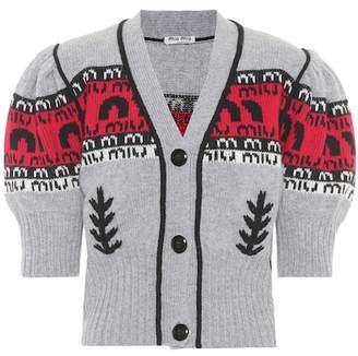 Miu Miu Intarsia virgin wool cardigan