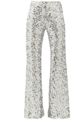 Halpern Sequinned Kick Flare Trousers - Womens - Silver