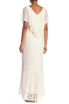 Marina Chiffon Popover Lace Maxi Dress