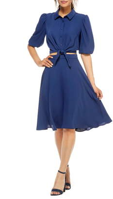 Gal Meets Glam Claudia Button Front Two-Piece Shirtdress