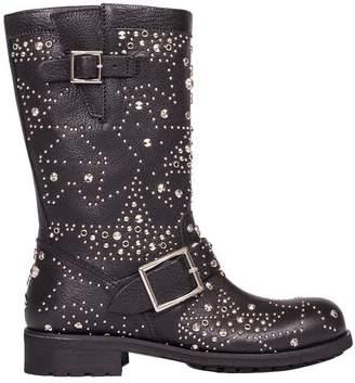 Jimmy Choo Black Leather Biker Boots
