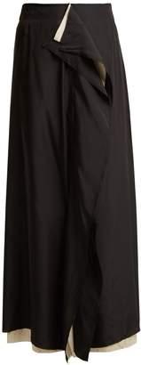 BY WALID Rawan raw-edge ruffled linen skirt