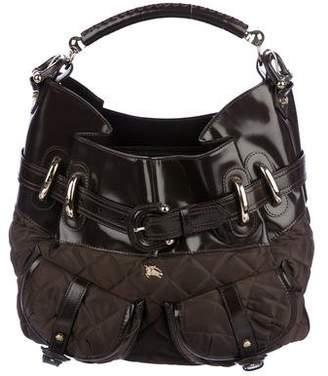 Burberry Leather-Trimmed Quilted Hobo
