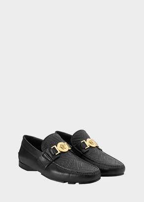 Versace Embroidered Greek Key Moccasins