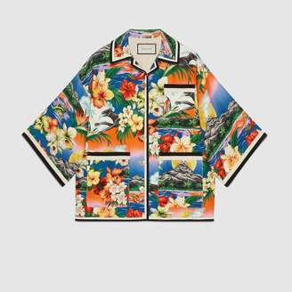 Gucci Hawaiian print linen oversized jacket