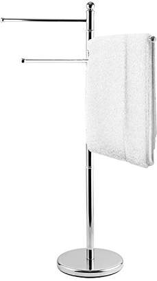 MyGift 40 Inch Standing Stainless Steel Bathroom Towel/Kitchen Towel Rack Stand with 3 Swivel Arms