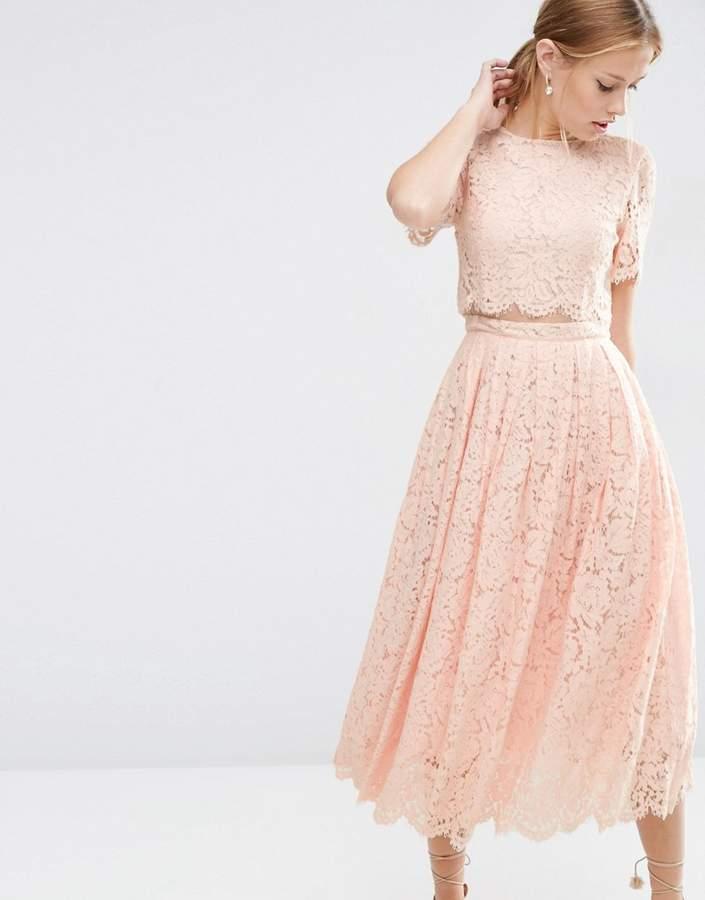 Asos Lace Crop Top Midi Prom Dress - ShopStyle.co.uk Women