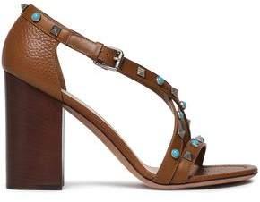 Valentino Embellished Textured-leather Sandals