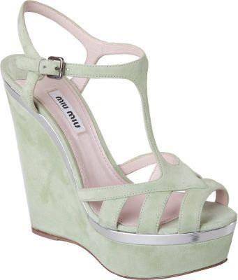 Miu Miu T-Strap Platform Wedge Sandal