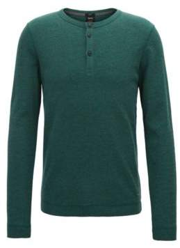 BOSS Hugo Slim-fit Henley T-shirt in heathered cotton XXXL Dark Green