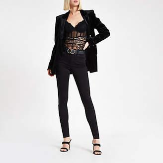 River Island Black lace corset bodysuit