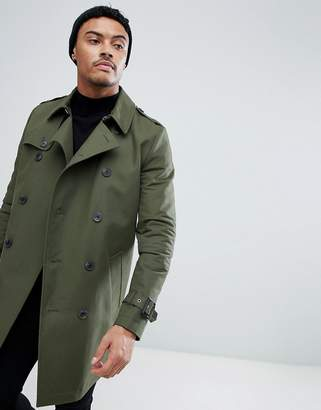 Asos Design DESIGN shower resistant double breasted trench in khaki