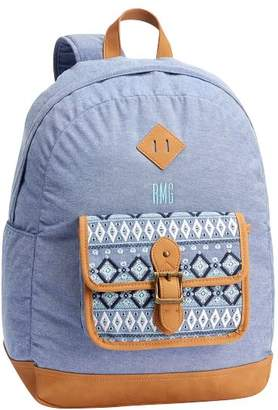 Pottery Barn Teen Northfield Embroidered Tribe Stripe Backpack, Chambray