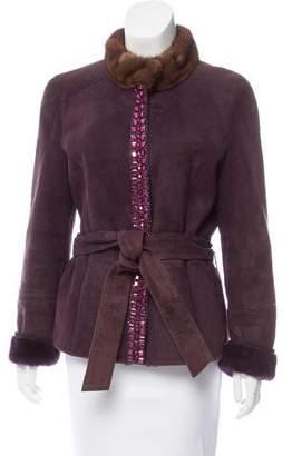 Valentino Embellished Shearling Coat