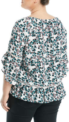 Fever 3/4-Sleeve Floral-Printed Ruffle Blouse, Plus Size