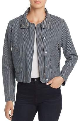 T Tahari Cristina Engineer-Stripe Moto Jacket