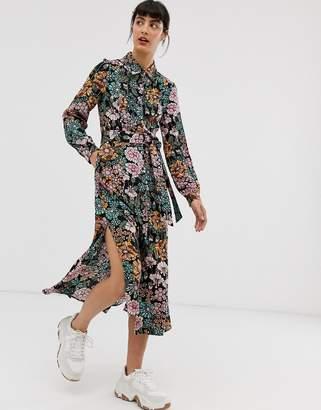 Monki floral print tie waist midi shirt dress