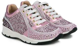 Philipp Plein Junior studded lace-up sneakers