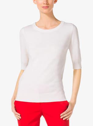 Michael Kors Elbow-Sleeve Cashmere Sweater