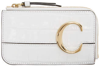 Chloé White C Small Card Holder