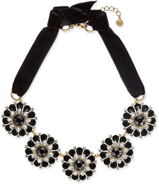 Charter Club Gold-Tone Jet & Clear Crystal Velvet Statement Necklace, Created for Macy's
