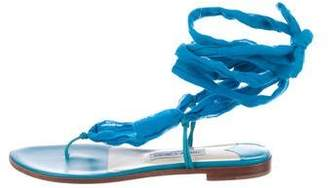 Jimmy Choo Woven Wrap-Around Sandals