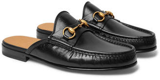 Gucci Open Roos Horsebit Leather Backless Loafers