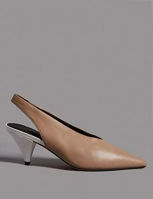 Marks and Spencer Leather Cone Heel Slingback Court Shoes