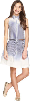 Milly MINIS OMBRE STRIPE TIE BACK BUTTON UP
