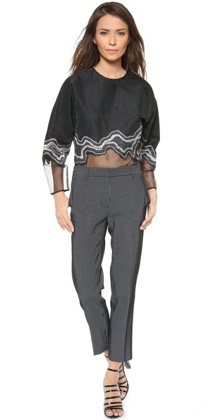 3.1 Phillip Lim Embroidered Geode Long Sleeve Top