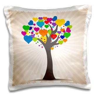 3dRose Cute Multi-Colored Tree With Heart Shaped Leaves - Pillow Case, 16 by 16-inch