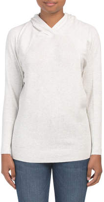 Cotton Blend Crossover Hooded Sweater