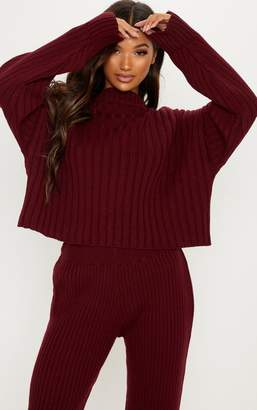 PrettyLittleThing Burgundy Ribbed Knitted Oversized Jumper 0023196aec503