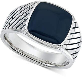 Macy's Esquire Men's Jewelry Onyx (12 x 12mm) Ring in Sterling Silver, Created for