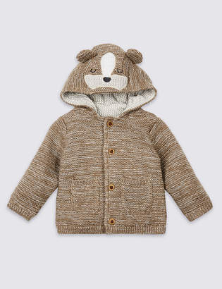 Marks and Spencer Pure Cotton Animal Face Chunky Cardigan