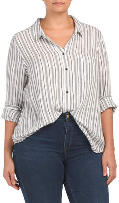 Lucky Brand Plus Bungalow Button Down Top