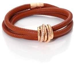 de GRISOGONO Allegra Diamond, 18K Rose Gold& Leather Wrap Bracelet/Lion