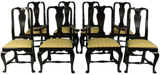 One Kings Lane Vintage Black Lacquer Queen Anne Chairs - Set of 8 - The Barn at 17 Antiques