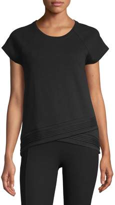 Andrew Marc Overlap Cotton Blend Top