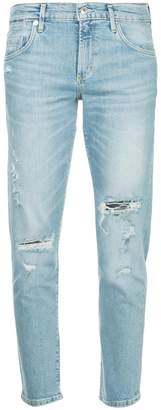 A Gold E Agolde Isabel distressed cropped jeans