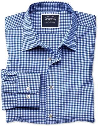 Charles Tyrwhitt Slim Fit Non-Iron Sky and Blue Gingham Oxford Cotton Casual Shirt Single Cuff Size Large