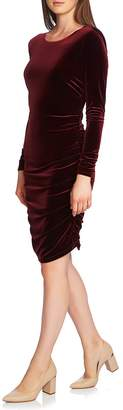 1 STATE 1.STATE Ruched Velvet Open Back Dress