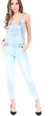 SALT TREE Women's Sneak Peek Skinny Washed Out Denim Overall Pants, US Seller