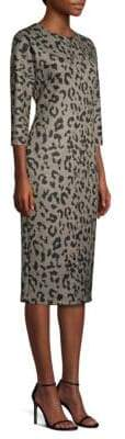 Max Mara Dramma Animal-Print Wool Midi Dress