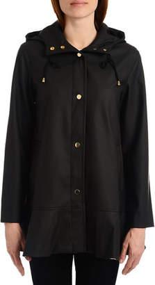 Kate Spade Peplum Trench Coat W/ Hood