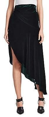 Monse Women's Asymmetrical Velvet Midi Skirt