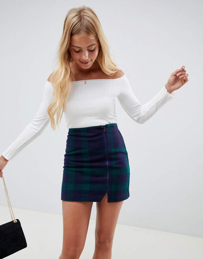 ASOS DESIGN navy plaid mini skirt with asymmetric zip